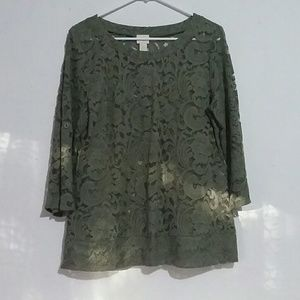 Chico's Size 0 (4/6) Green Lace Floral Top